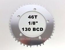 """46T Fixed Gear Chainring SILVER 130mm BCD Track Single Speed 1/8""""  50%OFF"""