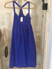 NEW Womens GAP Empire Waist Mini Cocktail Dress silk blend Blue Halter  2 XS