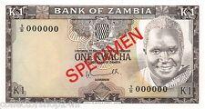 Zambia 1 Kwacha 1976 Unc Specimen pn 19s