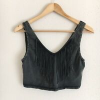 Urban Outfitters Ecote Womens Size Large Black Gray Fringe Festival Crop Top