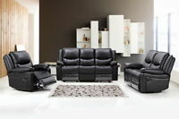 New Luxury Cinema Mondo 3+2 Seater Bonded Leather Recliner Sofa - Black/Brown