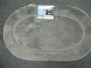 BIBB Oval Non-Slip SPA Bath Rug -GRAY*FREE SHIPPING*18 X30 WITH LATEX BACK