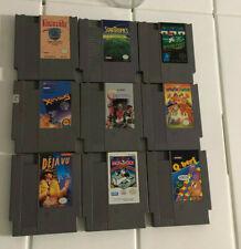 NES games (Xevious, Deja Vu, Contra, Monolopy, North & South, Qbert, 10-yard ft)