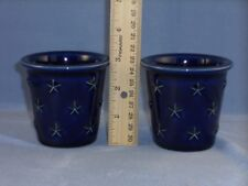 "Longaberger Cobalt Blue Votive Candle Holders ""American Eagle"" Usa Set of 2"