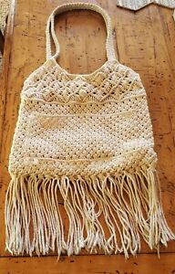 Denim&Supply RL Knitted Beige with Fringes Size M Bag Used Excellent Condition