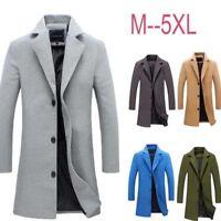 Winter Men's Wool Trench Coat Long Fashion Lapel Overcoat Thicken Warm Outwear