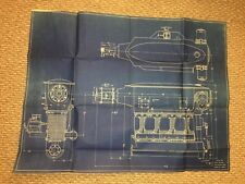 Original 1935 Milwaukee Motors Engine Blue Print, Tanks 75, Neat for Framing!!!