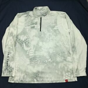 HUK Mens Small Trophy Kryptek Yeti 1/4 Zip White Gray Long Sleeve Shirt