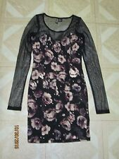 """H & M """"CONSCIOUS COLLECTION """" BLACK FLORAL SHEER TOP MINI DRESS SIZE: US 2"""