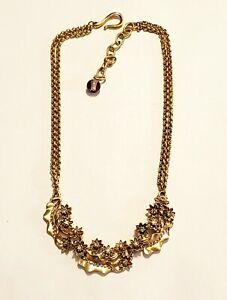 Vintage Oscar de la Renta Crystal Accent Flower and Leaf Design Collar Necklace