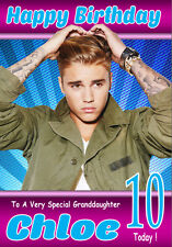 NEW JUSTIN BIEBER Personalised Birthday Card!! ANY NAME, RELATION & AGE! 4 COOL!