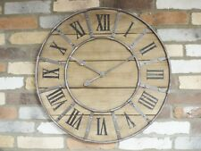 VERY LARGE WALL CLOCK INDUSTRIAL ROUND FRAME WOODEN CLOCK AMAZING