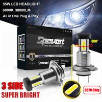H7 110W 30000LM Car CREE 3570 CSP LED Headlight Kit Canbus Lamp Kit White 6000K