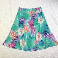 Womens W Lane Skirt Size 12 A Line Lined Floral Rose Green Blue