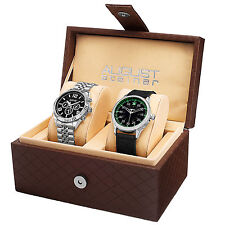 New Mens August Steiner AS8120SSB Swiss Stainless Steel & Canvas Watch Set
