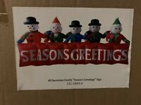CHRISTMAS SNOWMEN LIGHTED 4FT X 10FT SEASONS GREETINGS AIRBLOWN INFLATABLE YARD