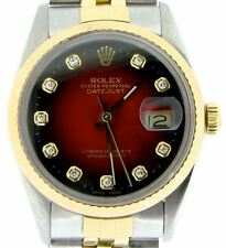 Rolex 2tone 18K Gold/Stainless Steel Datejust w/Red Vignette Diamond Dial 16013