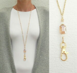 Gold Necklace Lanyard Amber Crystal Lanyard Necklace Gold ID Badge Holder Woman