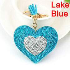 Heart Crystal Rhinestone Handbag Charm Pendant Bag Keyring Key Chain Ring 99 Lake Blue