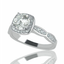 Natural 14K White Gold Round Cut Diamond Engagement Ring 0.77 CT F/SI1