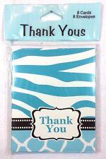 """THANK YOU"" Animal Safari Print Baby Shower Cards & Envelopes Party Supply 7-10B"