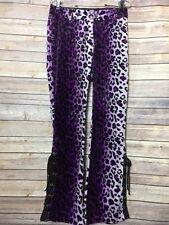 LIP SERVICE Purple Leopard Textured Lace Up Rocker Punk Dolls Kill Pants SZ 28