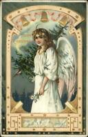Christmas - Angel Gold Bells TUCK #505 c1910 Postcard