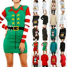 Ladies Womens Xmas Belt Elf Costume Christmas Jumper Sweater Knitted Mini Dress