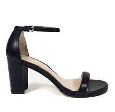 Stuart Weitzman Womens NearlyNude Black Leather Ankle Strap Sandal Sz 8 $398