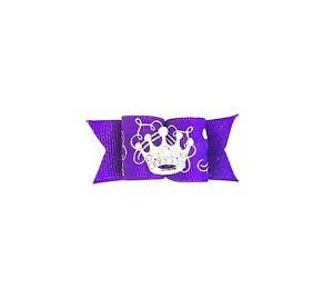 Dog Hair Bows- Purple Rhinestone Crown Princess Tiara Elastics or Barrette