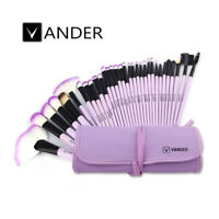 Vander 32PC Soft Powder Eyebrow Cosmetic Makeup Brushes Set Kit + Pouch Purple