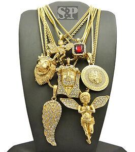 Hip Hop Iced Red Ruby, Angel, Medusa, Jesus, Lion, Wing Pendant 7 Necklace Set