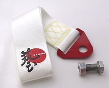 J's Racing JDM Universal Tow Strap / Tow Hook Ribbon - White