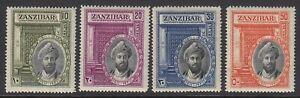 Zanzibar, Sc 214-217 (SG 323-326), MHR (slight brownish og), 30c thin
