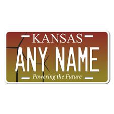 Personalized Kansas License Plate 5 Sizes Mini to Full Size Free Shipping