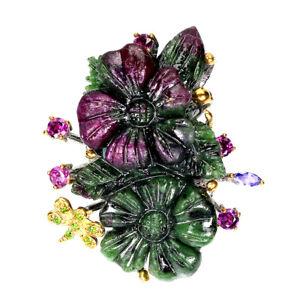 Handmade Flower Carving Ruby Zoisite 68ct Rhodolite Gems 925 Silver Ring Sz 8.5