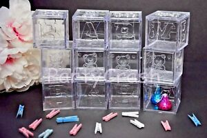 12 Fillable Blocks Baby Shower Favors Clear Party Decoration Birthday