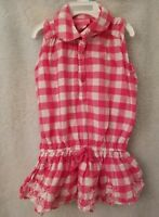 Girl's Pink Girls Pink White Plaid Shirt Top Blouse Size 3T
