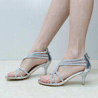 WOMENS LOW KITTEN HEEL STRAPPY SANDALS FORMAL PROM WEDDING SHOES SLIVER GOLD