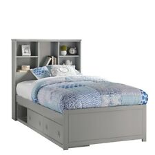 Caspian Twin Bookcase Bed with Storage Unit in Gray