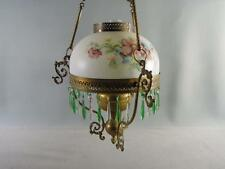 P & A Hanging Oil Lamp Parlor Opaque  Glass  Painted Floral  Green Pendants