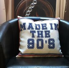 White with Stripes and Writing 'MADE IN THE 90'S' Evans Lichfield Cushion Cover
