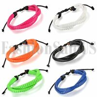Fashion Women Men PU Leather Braided Handmade Adjustable Cuff Wristband Bracelet
