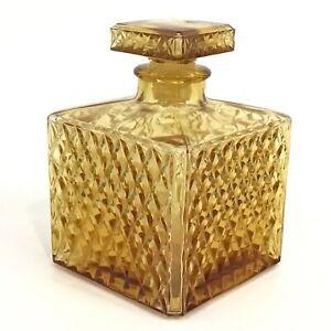 Amber Diamond Point Glass Decanter Pressed Square with Stopper Vtg Japan JGIA