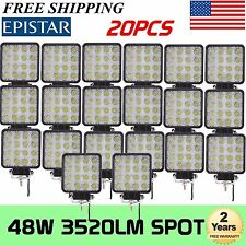 20X 48W Spot Led Work Light Boat Tractor Truck Off-road SUV UTE 4WD Atv 12V 24V