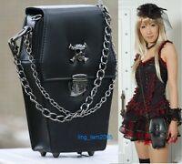 #2204 gothic Punk visual Rock coffin shape handbag / backpack Blk
