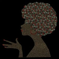 Brown Afrolady with Hand Rhinestud Iron on Hotfix
