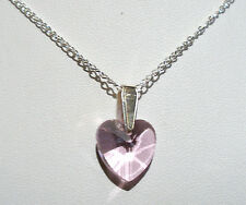"'AAA' GRADE PINK CRYSTAL GLASS HEART PENDANT 18"" SILVER PLATED CHAIN"