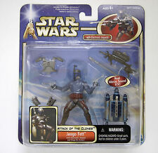 Hasbro Star Wars Attack Of The Clones Deluxe Jango Fett with electronic jetpack