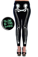 Glow in The Dark Skeleton Bones Gothic Punk Halloween Leggings By BANNED Apparel